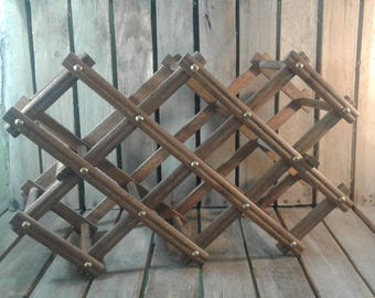 Vintage Wooden Collapsable Wine Rack