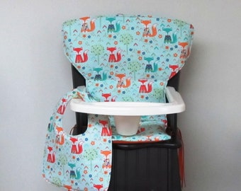 Eddie Bauer Newport or Safety First chair pad, wooden high chair pad baby accessory, custom high chair cushion, dapper fox with matching bib