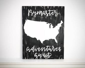 Custom Wood USA Map - 16x20 Wood Family Name USA Sign - Adventures Await - Wood United States Map - Customizable World / State / USA Maps