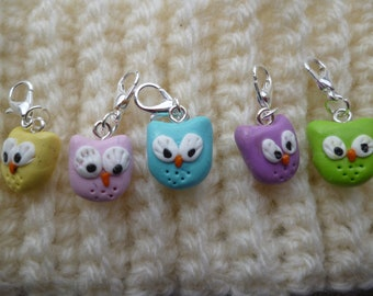 Set of 5 owls in fimo, OWL charm, polymer clay stitch markers, nice marker, knitting accessory, knit