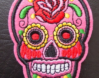 Embroidered patch fusible skull skull candy skull pinup 5.3 x 7.1 cm ROSE x 1