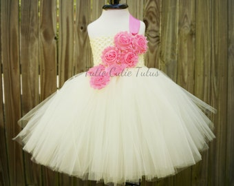 Pink and Ivory Shabby Chic Flower Girl Tutu Dress