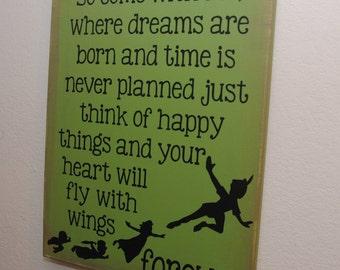 Peter pan sign - Peter pan wall art - Neverland sign - peter pan custom canvas - come with me - dreams - Canvas wall art - Nursery decor