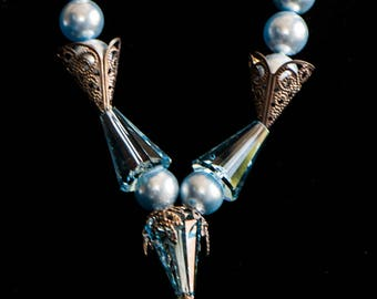 Aqua Blue Swarovski Necklace and Earrings
