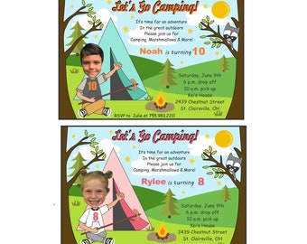 Boy or Girl Custom Photo Camping Birthday Invitation, Camping Birthday Invitation, Camping Birthday Party, Pic Me Digital Designs
