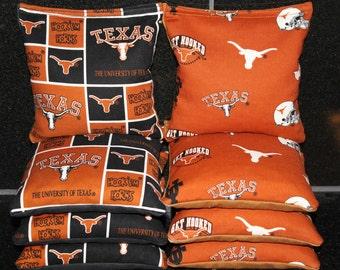 University of TEXAS LONGHORNS Cornhole Bean Bags 8 Corn Hole Bags ACA Regulation Tailgate Game