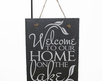 Welcome Sign Lake Home, Vacation Home Decor Welcome, Thank You Gift for Friend, Shabby Boho Cabin Home Decor, Retirement Gift for Parents