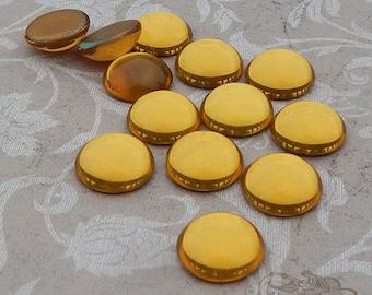 Vintage Cabochons - 13 mm Topas or Topaz Gold - 6 West German Glass Stones