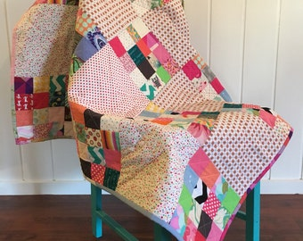 Scrappy Handquilted Handmade Quilt