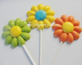 DAISY CHOCOLATE LOLLIPOPS*10 Count*Edible Flowers*Bridal Shower*Girl Birthday*Garden Party*Mother's Day Gift*Floral Bouquet*Flower Lollipop