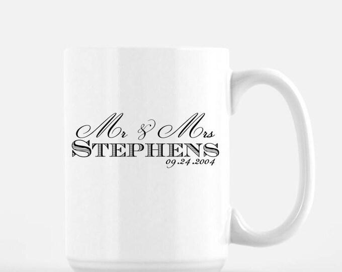 Mr and Mrs Custom Last Name White Ceramic Mug, 15 oz