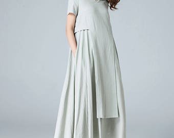 layered dress, linen dress, midi dress, flare dress, shift dress, mod clothing, day dress, designers clothing, plus size, gift for her 1787