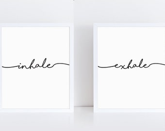 Inhale Exhale Print, Zen Wall Art, Typography Poster, Yoga Printable, Breathe Print, Scandinavian Modern, Minimalist Large Wall Art,Download