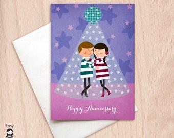 Disco Ball Slow Dance - Cute Dancing Couple - Happy Anniversary Greeting Card