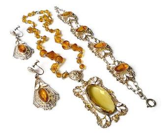 Art Deco Czech Citrine Bracelet Necklace Earrings - Czechoslovakia, Citrine Glass, Art Deco Jewelry, Enamel, Antique Jewelry, Art Deco Set