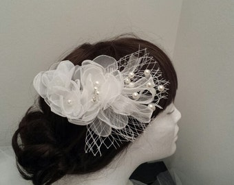 Wedding Tulle Flower Hair Comb, Fascinator