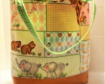 Jungle Animals Diaper Bag or Tote, Animals Tote, Jungle Nursery, Animal themed Baby bag, Elephants, Giraffes, Zebras, Flamingos Bag