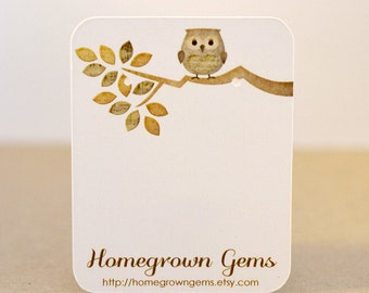 Custom Owl Earring Cards Jewelry Display Customized Brown Branch
