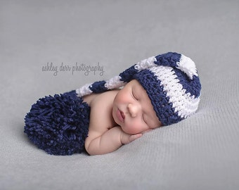 Long Tail Baby Hat, Newborn Photo Prop, Elf Hat, Navy and White, Baby Boy Hat, Crochet Baby Hat, Newborn Baby Hat, Baby Hat, Baby Gift