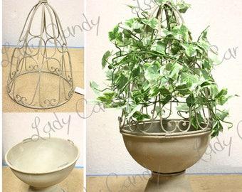 2 decorative flower POT PLANTER TOPIARY plant old H51 CM & H 42 CM #2012