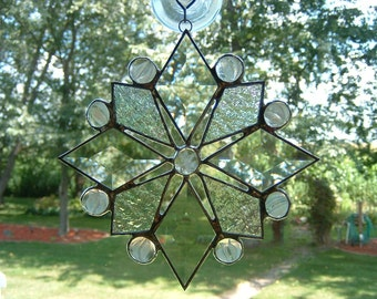 Large Clear Iridescent Snowflake Suncatcher  with Bevels