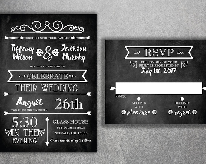 Chalkboard Wedding Invitations, Blackboard Wedding Invitation, Rustic Wedding Invitation, Wedding Invite, Black and White, Country, Chic