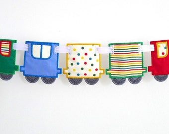 "Train Banner In The Hoop Project Machine Embroidery Designs Applique Patterns ITH in 4 variations and in 3 sizes each 4"", 5"" and 6"""