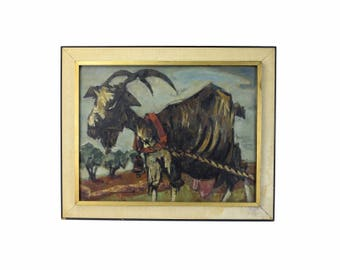 """1954 """"La Chevre"""" Mid-Century Abstracted Goat Oil Painting Signed H. Rey"""