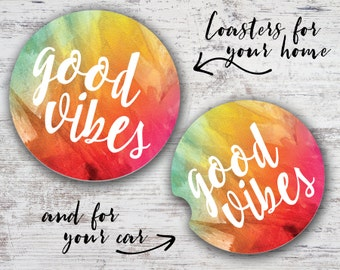 Good Vibes Sandstone Home Coaster or Car Coaster