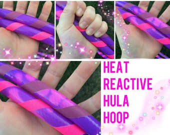 """Heat Reactive Sensitive Dance & Exercise Hula Hoop with push button OR minis -- polypro HDPE purple pink 5/8"""" 3/4"""""""