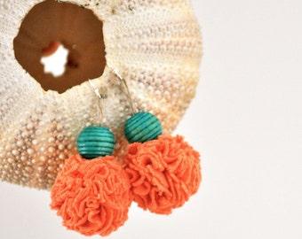 Bohèmes boucles Turquoise corail - Pom Pom recyclé bijoux tissu