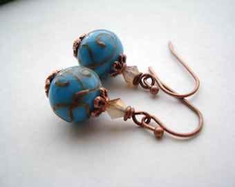 Vintage Style Turquoise Lampwork Glass and Swarovski Crystal Earrings, Copper, Wedding Bridesmaids earrings gift, Christmas, Holiday gift