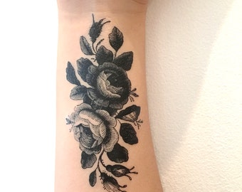Vintage roses temporary tattoo in black, floral tattoos, rose, tats, vintage, tattoo test, gift, party favors, girls, women, teens, party