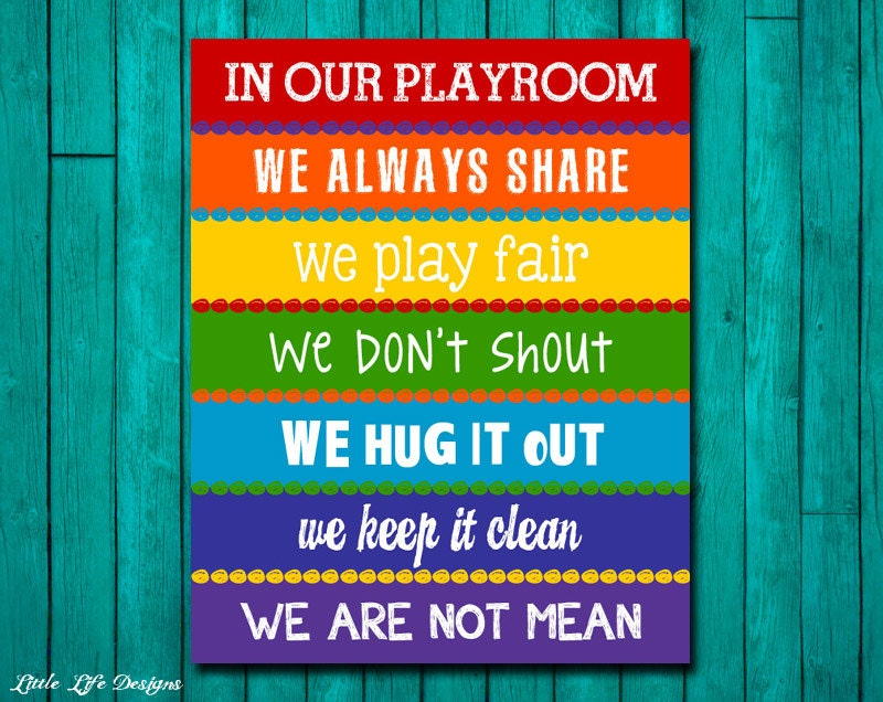 Playroom Rules Sign. Childrens Wall Art. Kids Room Decor.