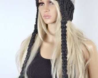 Hat, Knit hat, Chullo, Ear Flap Hat, Pom Pom Hat, Winter Hat, Handmade Hat, Chullo Hat, Charcoal Grey Earflap, Wool Hat, 2 Color Earflap
