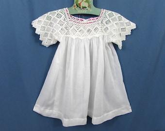 Edwardian Crochet Bodice Baby Dress - white cotton - c 1910