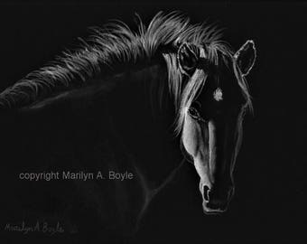 ORIGINAL ACRYLIC PAINTING; Horse, equine art, wall art, 9 x 12 inch black, wrap around canvas, black and white, limited palette
