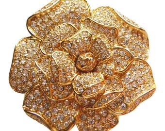Nolan Miller Barbara Stanwyck Gardenia Flower Paved Crystal Brooch/ Pin - New In Box Rhinestone Pin Bridal Pin