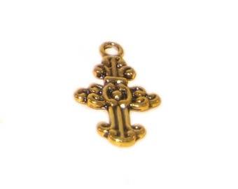 16 x 24mm Antique Gold Cross - 2 crosses