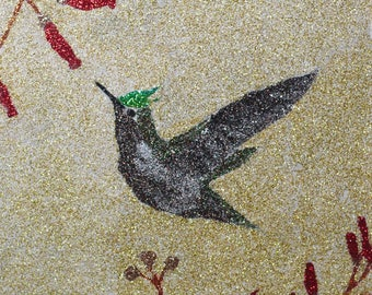 Glitter Painting - Antillean Crested Hummingbird