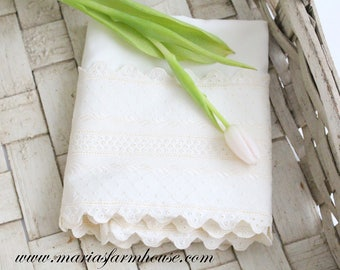 Vintage, Victorian Style Ivory Pillow Case, Standard Size, Heirloom, Gifts for Her