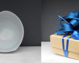Small Gift Wrapped and Boxed Palest Blue Stoneware Celadon Glazed Heart Dish  ..Wheel thrown pot