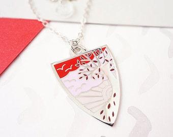 Autumn Personalised Birthstone Pendant - Silver