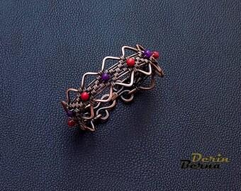 Wire wrapping jade women charm bracelet,Jade bracelet,Gemstone women bracelet,braided womens bracelet,Purple jade copper bracelet women