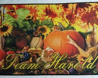 Personalized fall harvest theme door mat