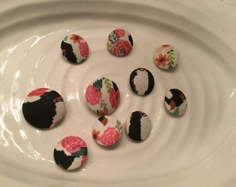 Fabric covered buttons - 10 assorted fabric covered buttons