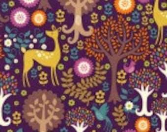 Michael Miller Fantasy Forest Purple Fabric - 1 yard