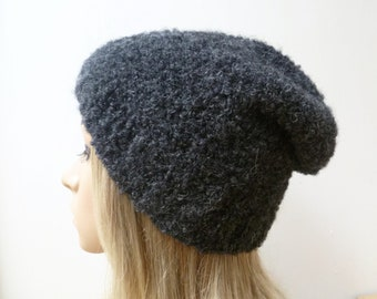 Alpaca Boucle Slouchy Beanie, Hand Knitted Hat, Charcoal Grey Alpaca Beanie, Women Alpaca Slouch Hat, ClickClackKnits