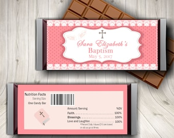 Baptism Girl, Baptism Favors, Candy Bar Wrapper, Christening Favors, Custom Baptism, Custom Christening, Christening Cross, Pink Lace