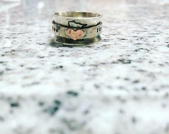 Personalized Heart Spinner Fidget Ring